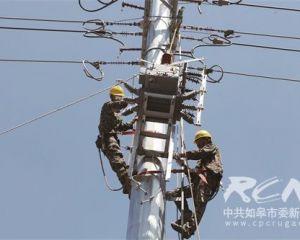 市供电局的工人们顶着高温检修线路