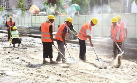 工程降尘喷淋环保系统首次运用到市政工程工地
