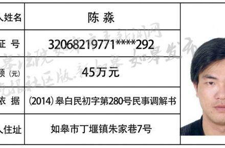 2018年8月老赖曝光名单(附悬赏公告)一角
