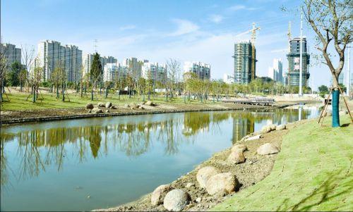 我市水利工程绿化首次使用喷淋系