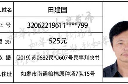 """如皋法院发布2020年第三期""""老赖""""名单!(附悬赏公告)一角"""