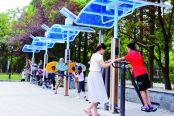 """我市外城河""""口袋公园""""吸引不少市民前来体验锻炼"""